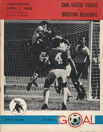 Boston Beacons at San Diego Toros. April 3, 1968