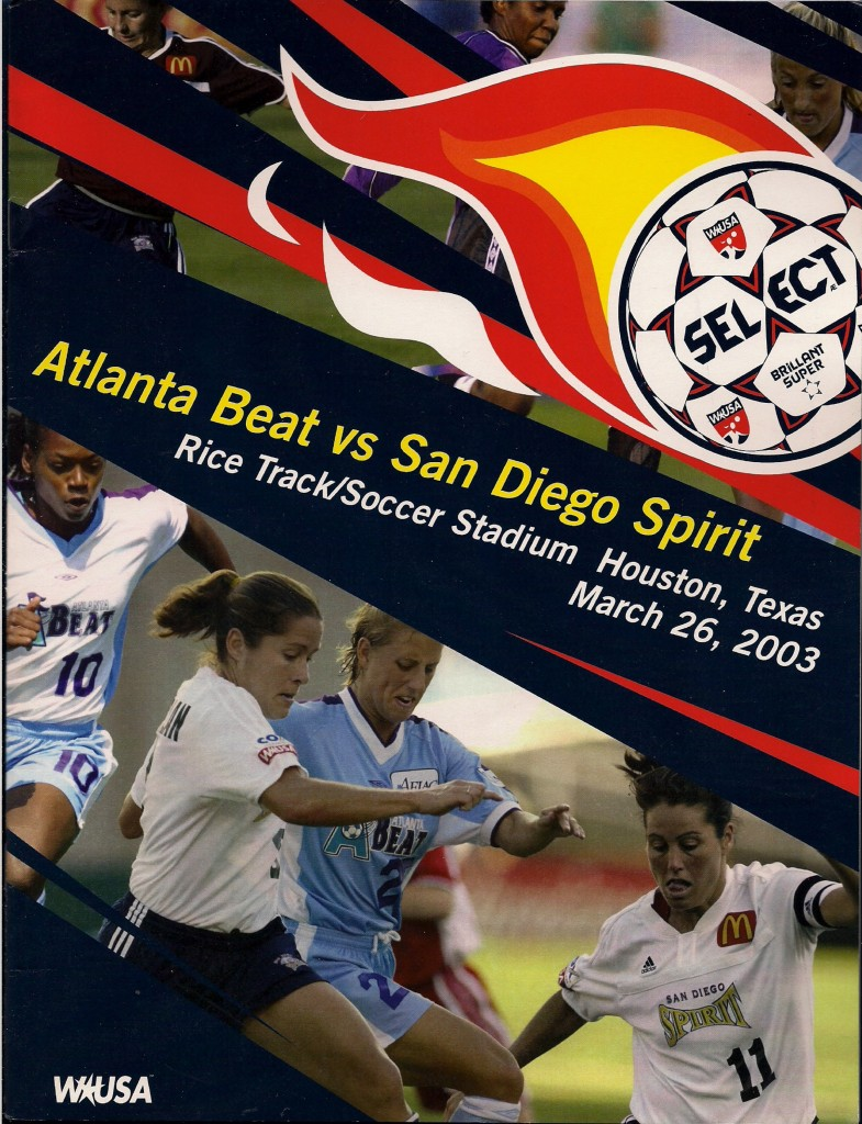 2003 Atlanta Beat vs. San Diego Spirit WUSA Pre-season Exhibition Program