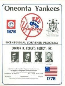 Oneonta Yankees Program
