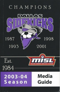 Dallas Sidekicks Media Guide