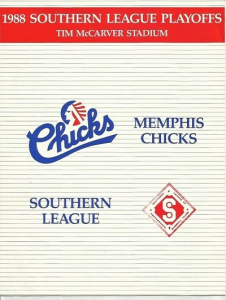 1988 Memphis Chicks Program. Playoff edition