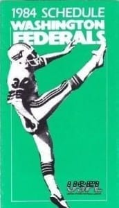 1984 Washington Federals Pocket Schedule