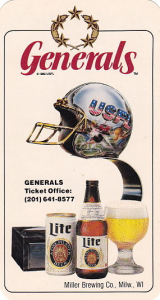 1984 New Jersey Generals Pocket Schedule